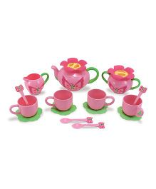 Melissa And Doug Bella Butterfly Tea Set Pink - 17 Pieces
