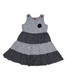 9 Yrs Younger Sleeveless Frock Dot Print - Black and Grey