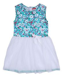 9 Yrs Younger Sleeveless Floral Print Frock - Blue And White