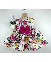 Tiny Toddler Floral Dress With Big Bow - Pink