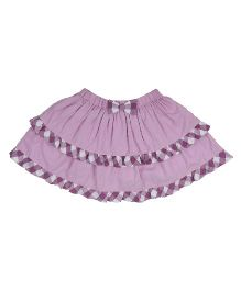 9 Yrs Younger Solid Color With Check Border Skirt -  Purple