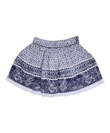 9 Yrs Younger Rayon Crepe  Printed Skirt - Blue