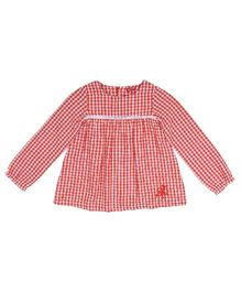9 Yrs Younger Full Sleeves Checks Top - Red
