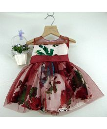 Tiny Toddler Floral Print Dress With Bow - Maroon