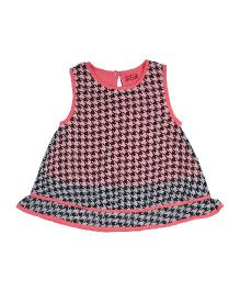 9 Yrs Younger Sleeveless Checks Dress - Pink & Black