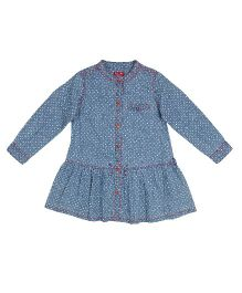 9 Yrs Younger Full Sleeves Printed Dress - Blue