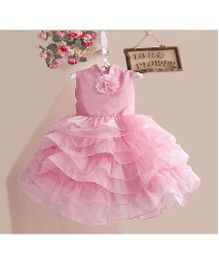 Pikaboo Sleeveless Layered Party Dress Flower Applique - Pink