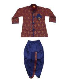 Kishore Dresses Full Sleeves Brocade Kurta and Dhoti Pant Set - Red and Blue
