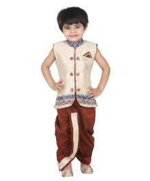 Kishore Dresses Sleeveless Embroidered Kurta and Dhoti Set - White And Brown