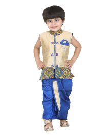 Kishore Dresses Sleeveless Embroidered Kurta and Dhoti Set - Beige And Blue