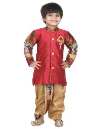 Kishore Dresses Full Sleeves Kurta and Dhoti Set - Beige And Red