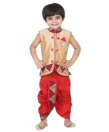 Kishore Dresses Sleeveless Kurta and Dhoti Set - Beige And Red