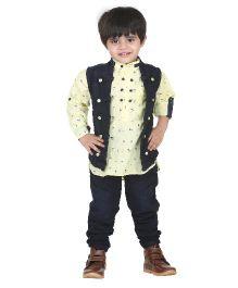 Kishore Dresses Shirt Waistcoat And Pant Set - Yellow and Blue