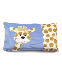 Baby Pillow With Giraffe Patch - Blue And Cream