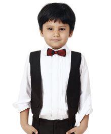 Kidology Tux Shirt With Waist Coat - White & Black