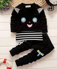 Pre Order - Lil Mantra Stylish Sweatshirt & Pant Set - Black