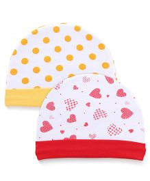 Babyhug Caps Dots And Hearts Print Pack Of 2 -Yellow Red