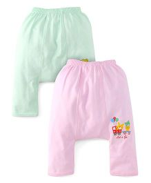 Babyhug Diaper Legging Pack Of 2 - Green Pink