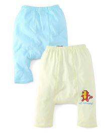 Babyhug Diaper Legging Pack Of 2 - Blue Green