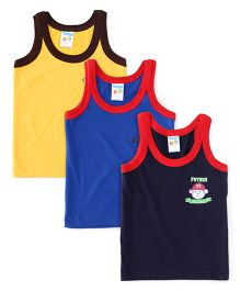 Tango Sleeveless Vests Pack of 3 - Navy Blue Yellow