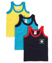Tango Sleeveless Contrast Neckline Vest Pack Of 3 - Navy Teal Blue Yellow