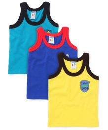 Tango Sleeveless Printed Vest Pack Of 3 - Navy Teal Blue Yellow