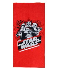 SPACES Star Wars Print Kids Cotton Bath Towel - Red