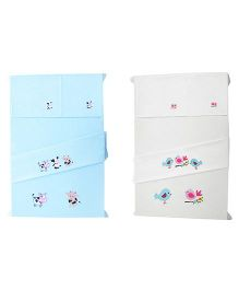 Baby Rap Crib Sheet With Pillow Cover Birds & Cows Embroidery - Blue And White