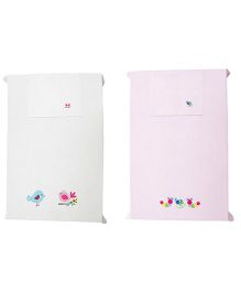 Baby Rap Crib Sheet With Pillow Cover Bird And Snail Embroidery - White And Pink