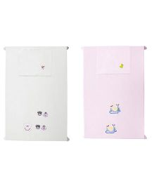 Baby Rap Crib Sheet With Pillow Cover Cows & Ducks Embroidery - White And Pink