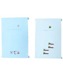Baby Rap Crib Sheet With Pillow Cover Cows And Train Embroidery - Blue And White