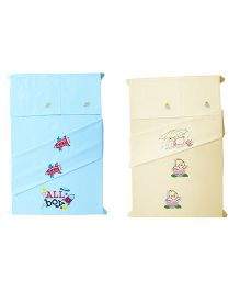 Baby Rap Crib Sheet With Pillow Cover Ducks In Space Embroidery - Blue And Yellow