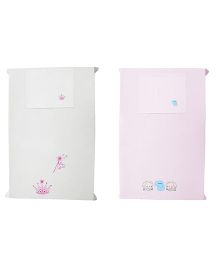 Baby Rap Crib Sheet With Pillow Cover Elephant And Princess Theme Embroidery - Pink And White
