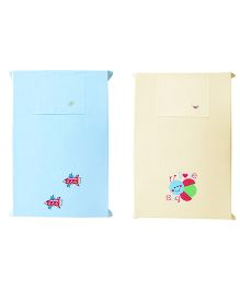Baby Rap Crib Sheet With Pillow Cover Love Bug And Space Theme Embroidery - Blue And Yellow