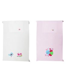 Baby Rap Crib Sheet With Pillow Cover Love Bug And Birds Embroidery - Pink And White