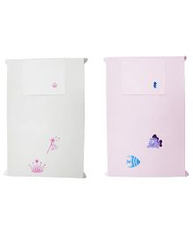 Baby Rap Crib Sheet With Pillow Cover Princess & Fish 2 Embroidery - Pink And White