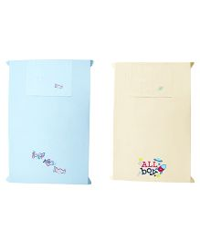 Baby Rap Crib Sheet With Pillow Cover Space & Plane Embroidery - Blue And Yellow