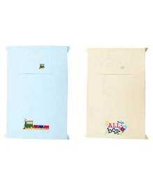 Baby Rap Crib Sheet With Pillow Cover Space And Train Embroidery - Blue And Yellow