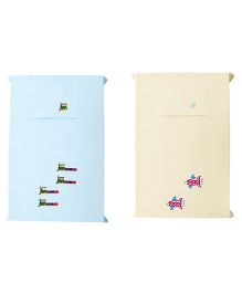 Baby Rap Crib Sheet With Pillow Cover Space Trains 2 Embroidery - Blue