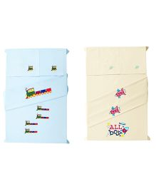Baby Rap Crib Sheet With Pillow Cover Trains And Space Embroidery - Blue And Yellow