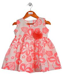 Mom's Girl Dress With Floral Print - Peach