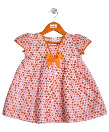 Mom's Girl Butterfly Dress With Bow - Pink & Orange
