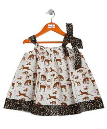 Mom's Girl Animal Printed Aline Dress - Multicolour