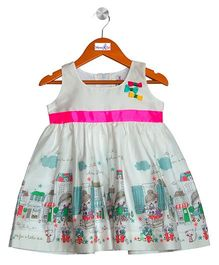 Mom's Girl Village Cartoon Printed Dress - Light Green