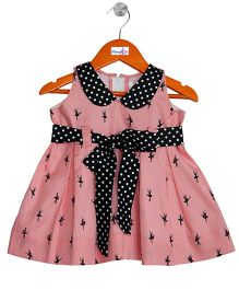 Mom's Girl Dance Printed Dress With Peterpan Collar - Pink & Black