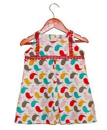 Mom's Girl Bird Printed Dress - Multicolour