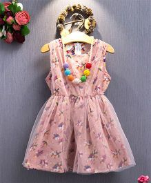 Pre Order - Tulip Small Flower Print Party Dress - Pink