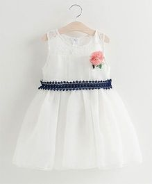 Pre Order - Tulip Lace Work With Side Flower Dress - White