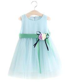 Pre Order - Tulip Pretty Dress With Flower Applique - Blue