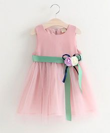 Pre Order - Tulip Pretty Dress With Flower Applique - Pink